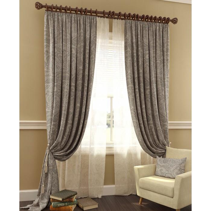 Комплект штор «Архелия», 150 × 280 см - 2 шт, тюль 145 × 280 см - 2 шт, серый