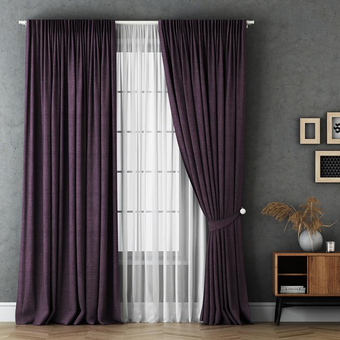 Комплект штор «Маркус», размер 240х270 см, фиолетовый