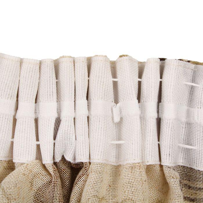 Штора портьерная «Этель»135×260 см, Чайники, полулён, 15% лён, 85% п/э