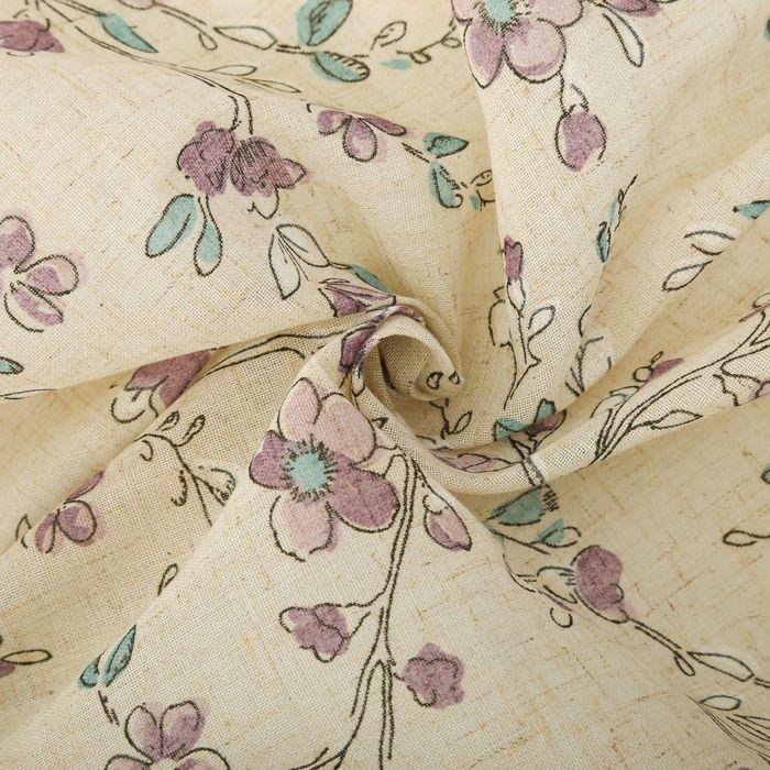 Штора портьерная «Этель» 135×260 см, Яблони в цвету, полулён, 15% лён, 85% п/э