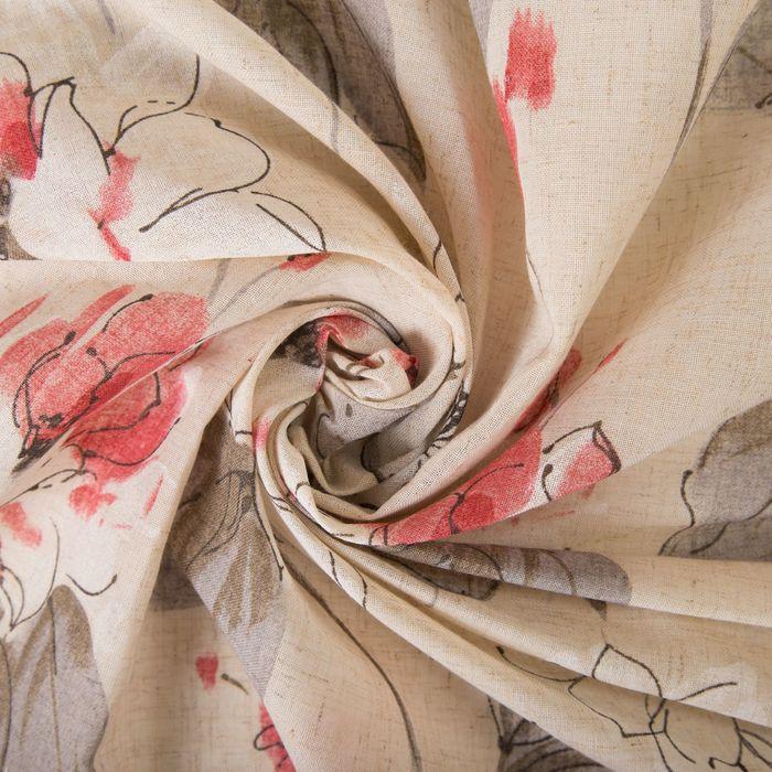 Штора портьерная «Этель» 135×260 см, Японское соцветие, полулён, 15% лён, 85% п/э