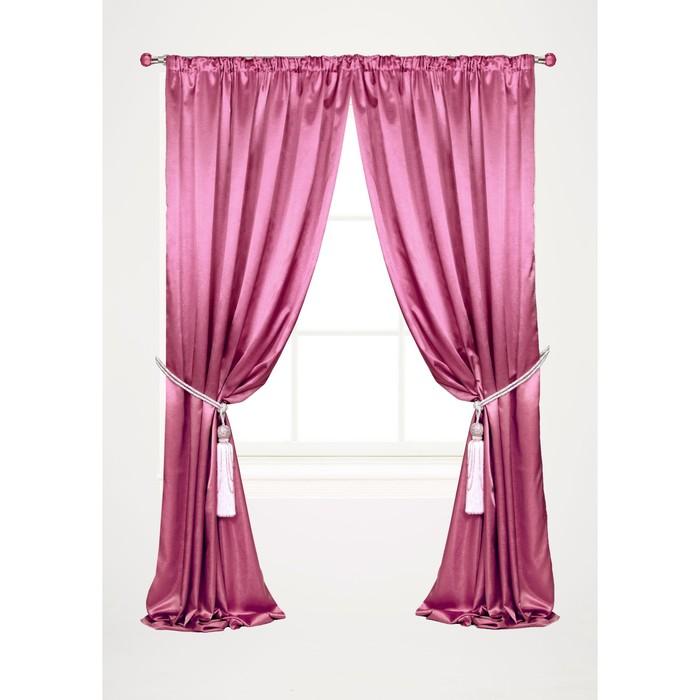 Штора портьерная 145х260 см, розовый, шанзализе, пэ 100%