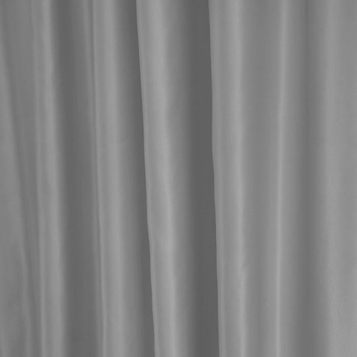 Штора портьерная Сатин 135х260 см 1 шт, серебро, пэ 100%