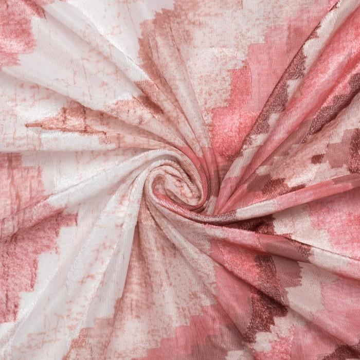 """Штора тюлевая сетка с бархатом """"Этель"""" Памир 240х250 см, розовый, 100% п/э"""