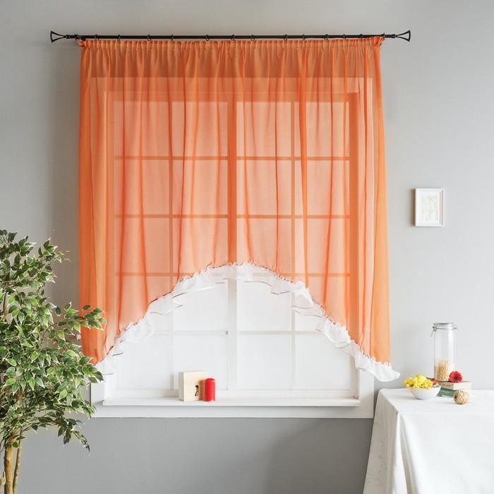 Портьера «Фокси», размер 300х180 см-1 шт, цвет оранжевый