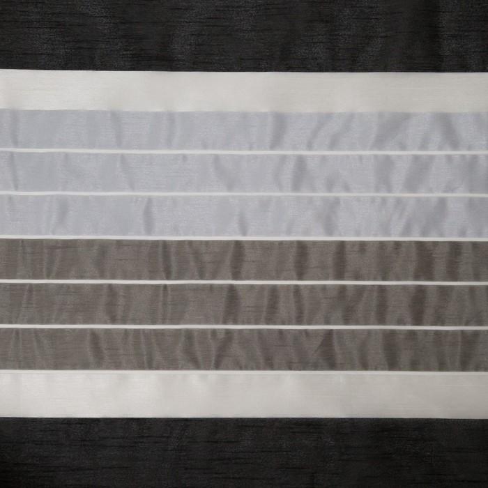"""Тюль """"Этель"""" 290х280 Гамма серый (горизонтальная полоса) б/утяжелителя, 100% п/э"""