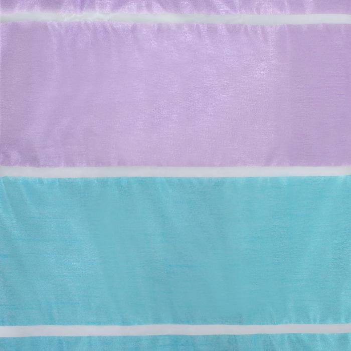 """Тюль """"Этель"""" 290х280 Гамма голубой (горизонтальная полоса) б/утяжелителя, 100% п/э"""