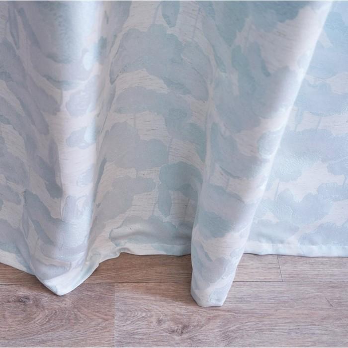 Штора портьерная жаккард Лен Цветы 135х260 см, голубой, пэ 100%
