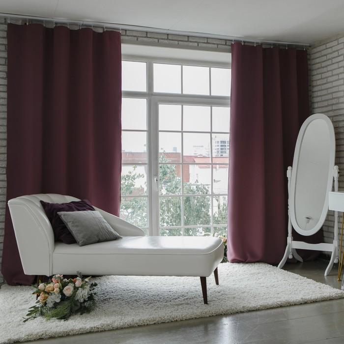 Штора портьерная «Этель» 250×265 см, блэкаут, цвет фиолетовый, пл. 210 г/м², 100% п/э