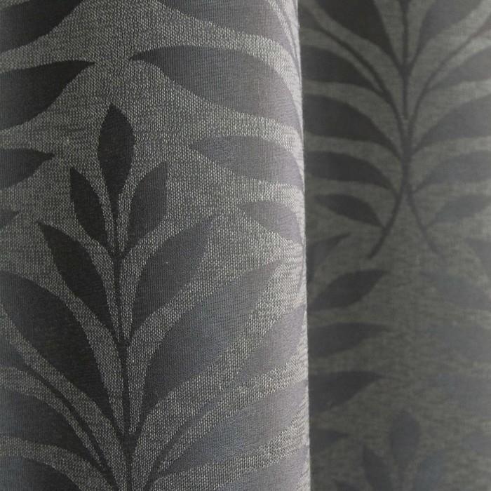 Шторы портьерные «Акация», размер 135 × 260 см-2 шт, жаккард, серый