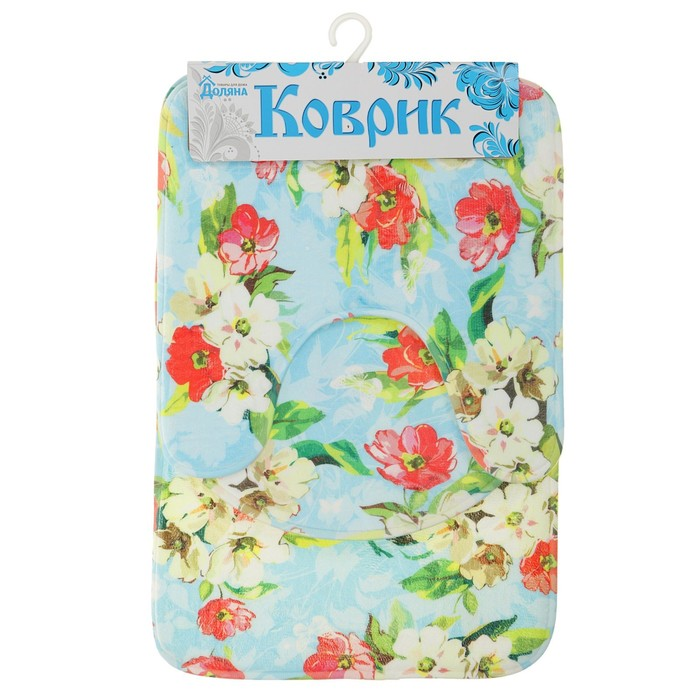 """Набор ковриков для ванной и туалета """"Цветы на голубом"""" 3 шт"""