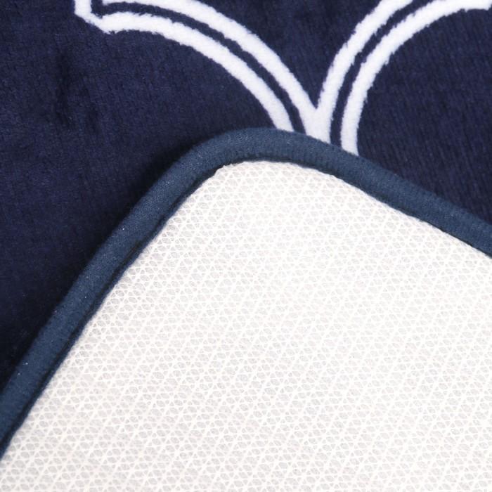 """Набор ковриков для ванны и туалеты """"Виньер"""", 2 шт: 50х80 см, 50х44 см, цвет синий"""