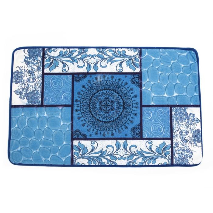 """Набор ковриков для ванны и туалета """"Коллаж"""" 3 шт, цвет синий"""