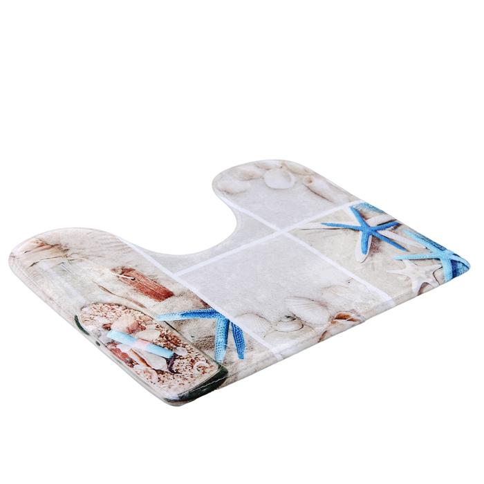 """Набор ковриков для ванной и туалета """"Морская бутыль"""", 2 шт: 45×75, 45×40 см"""