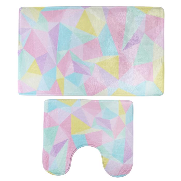 """Набор ковриков для ванной и туалета """"Цветная иллюзия"""", 2 шт: 45×75, 45×40 см"""
