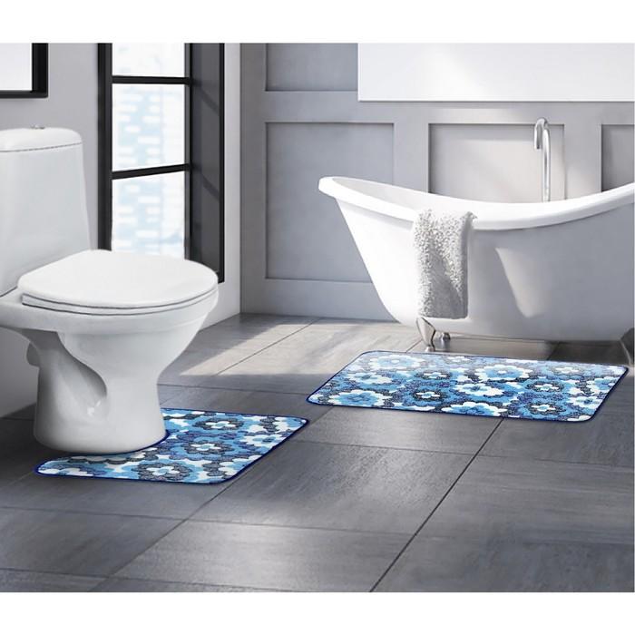 """Набор ковриков для ванной и туалета """"Голубые цветы"""" 2 шт"""
