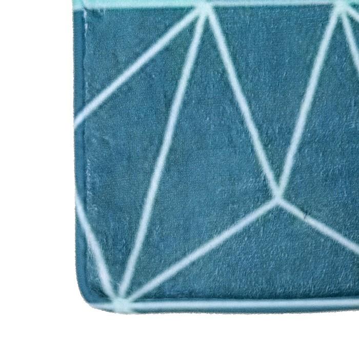 """Набор ковриков для ванны и туалета """"Геометрия цветов"""", 2 шт: 45×75, 45×40 см"""