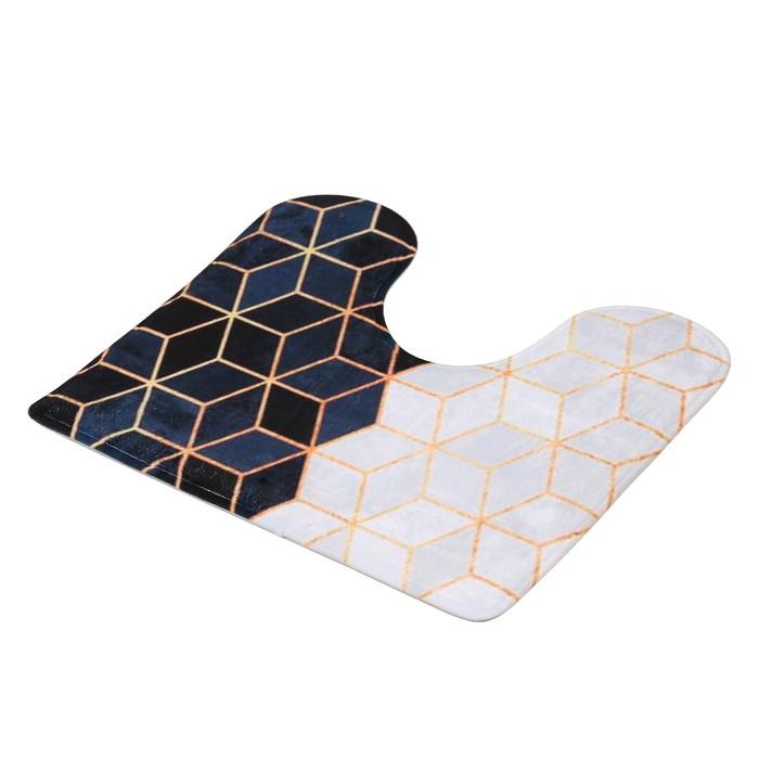 """Набор ковриков для ванны и туалета """"Геометрия"""", 2 шт: 45×75, 45×40 см"""