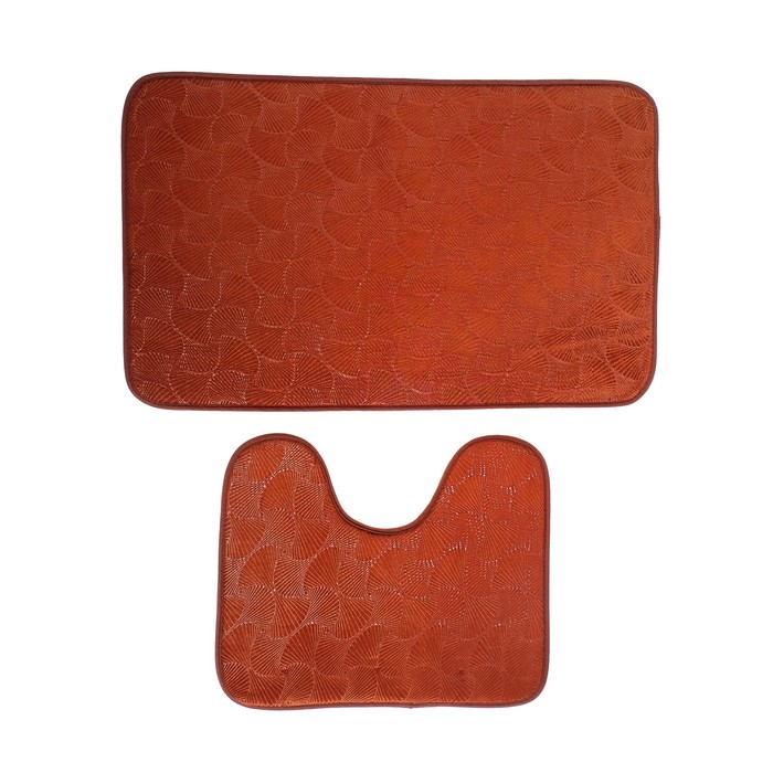 """Набор ковриков для ванны и туалета 50×80, 50×39 см """"Ракушки"""", 2 шт, цвет коричневый"""