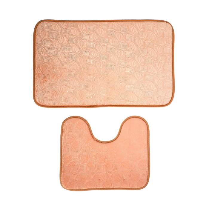 """Набор ковриков для ванны и туалета 50×80, 50×39 см """"Ракушки"""", 2 шт, цвет светло-коричневый"""