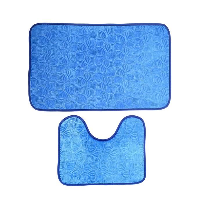 """Набор ковриков для ванны и туалета 50×80, 50×39 см """"Ракушки"""", 2 шт, цвет синий"""