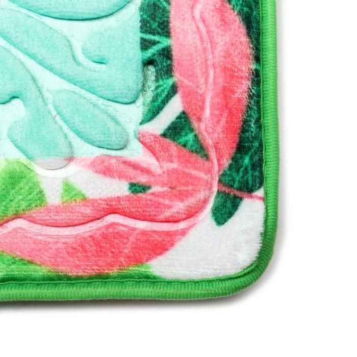 """Набор ковриков для ванной и туалета """"Узор"""", цвет зелёный"""