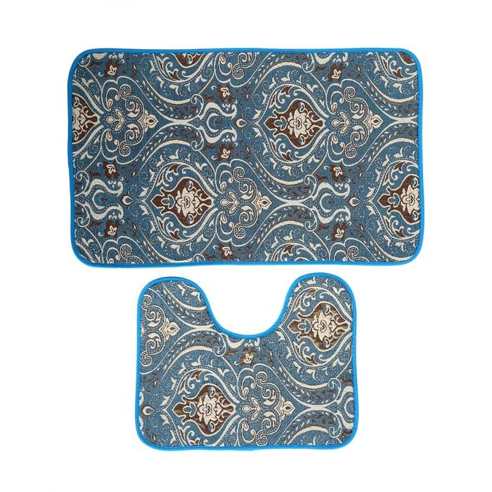 """Набор ковриков для ванны и туалета 50×80, 50×39 см """"Восток"""", 2 шт, цвет бирюзовый"""