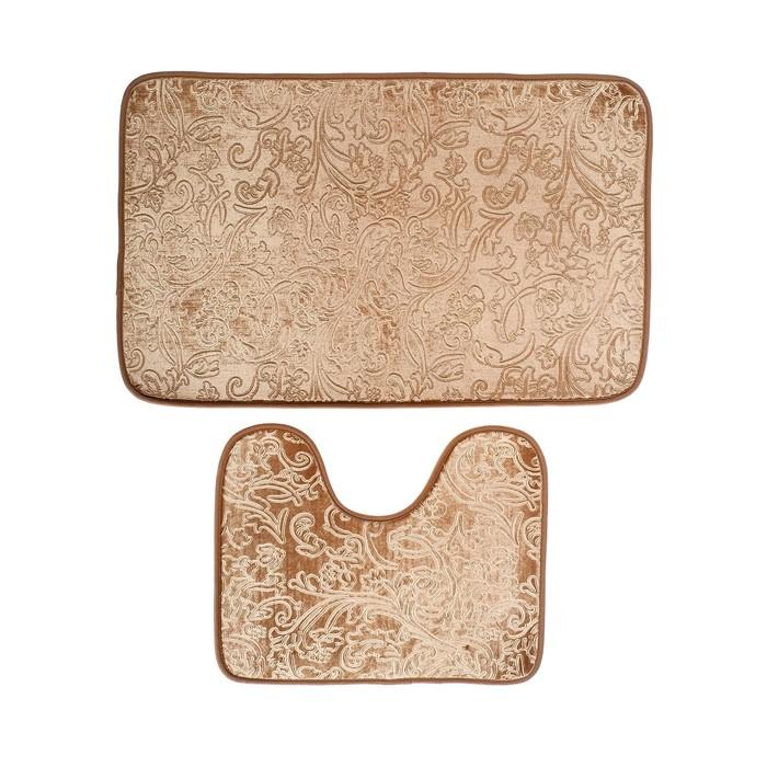 """Набор ковриков для ванны и туалета 50×78, 50×40 см """"Афина"""", 2 шт, цвет коричневый"""