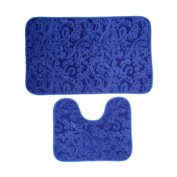 """Набор ковриков для ванны и туалета 50×78, 50×40 см """"Афина"""", 2 шт, цвет синий"""