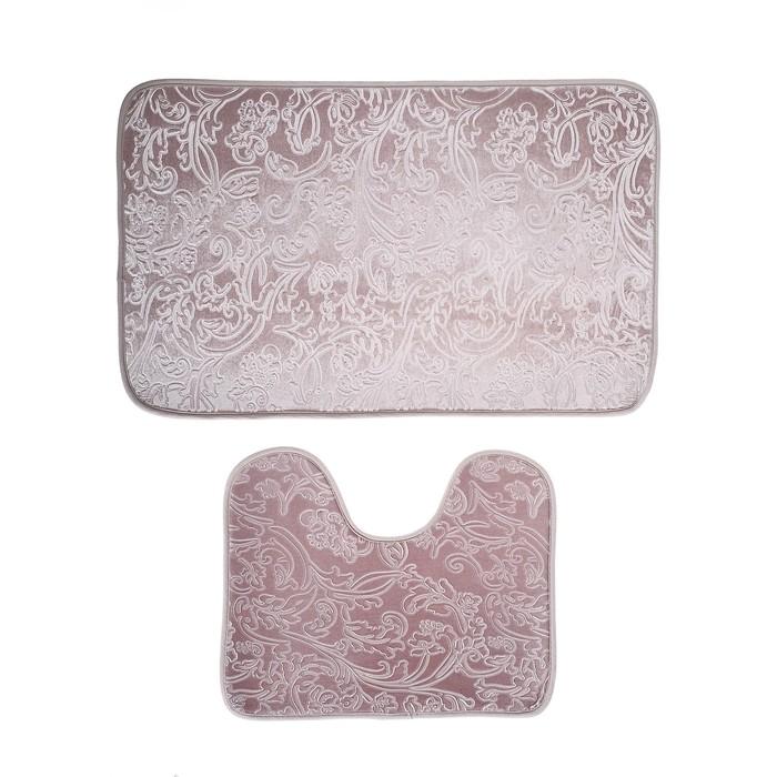 """Набор ковриков для ванны и туалета 50×78, 50×40 см """"Афина"""", 2 шт, цвет серый"""