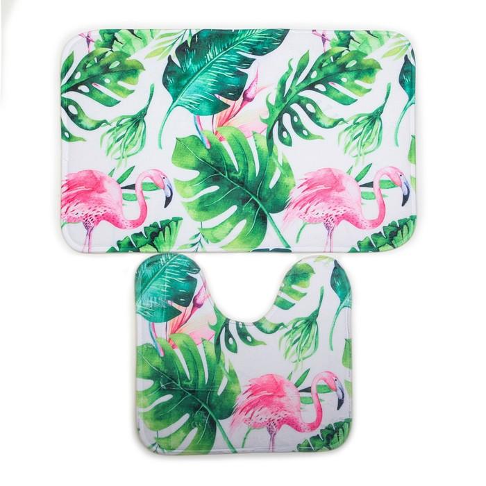 "Набор ковриков для ванной и туалета ""Фламинго"", 2 шт"