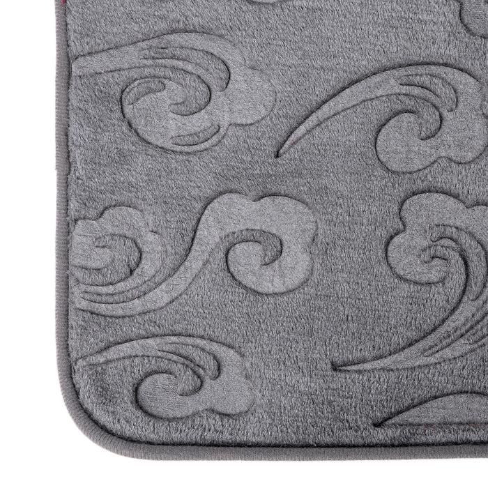 """Набор ковриков для ванной и туалета 50×80, 50×40 см """"Грация"""" 2 шт, цвет серый"""