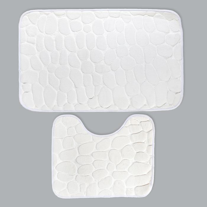 """Набор ковриков для ванной и туалета """"Галька"""", 2 шт: 50×80 см, 39×50 см, цвет белый"""