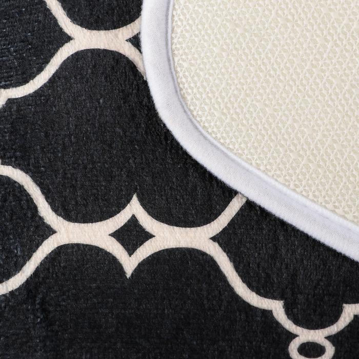 """Набор ковриков для ванны и туалета """"Сантра"""", 2 шт: 50×80 см, 50×39 см, цвет чёрно-белый"""