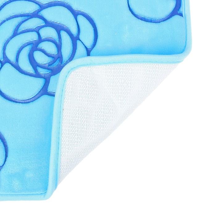 """Набор ковриков для ванной и туалета """"Цветок"""" 3 шт, цвет синий"""