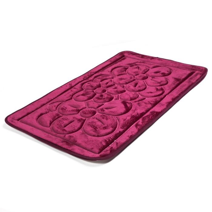 """Набор ковриков для ванной и туалета """"Лютики"""" 3 шт, цвет бордовый"""