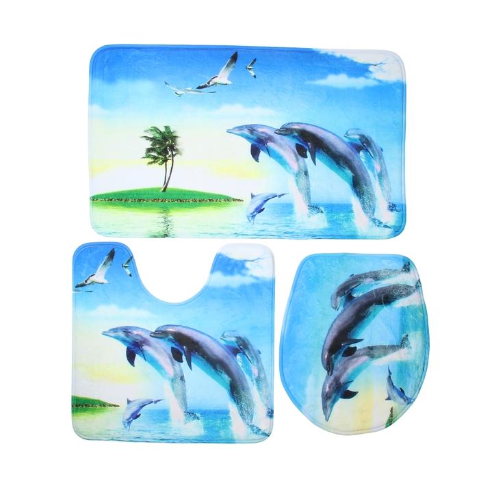 """Набор ковриков для ванной и туалета """"Дельфины"""", 3 шт: 50×80, 50×50, 41×45 см"""