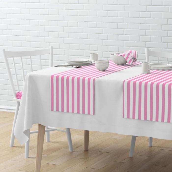 Комплект дорожек на стол «Кембридж», размер 40 × 150 см - 4 шт, розовый