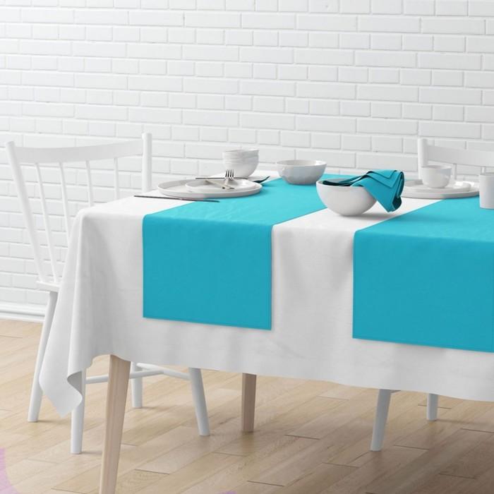 Комплект дорожек на стол «Билли», размер 40 × 150 см - 4 шт, небесно-голубой