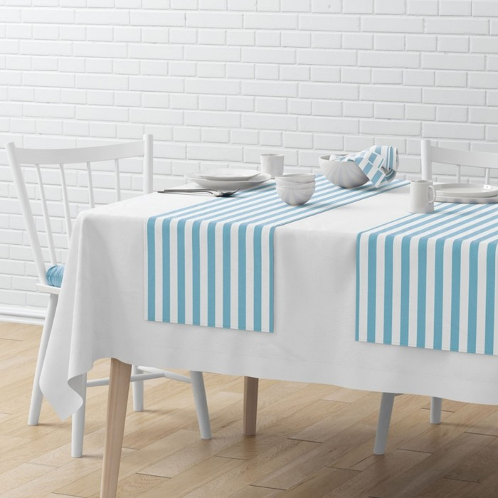 Комплект дорожек на стол «Кембридж», размер 40 × 150 см - 4 шт, голубой