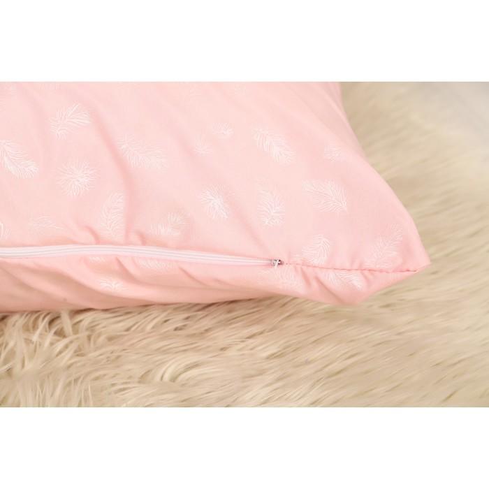 Наперник 50х70 см на молнии Перо розовое