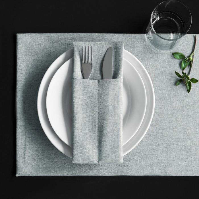 Комплект кувертов «Ибица», размер 10 × 24 см - 4 шт, бежево-серый