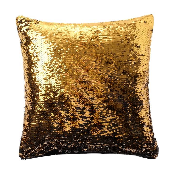 Наволочка декоративная Хамелеон 37×37 см, цвет золото - глянцевый чёрный, пайетки, 100%п/э