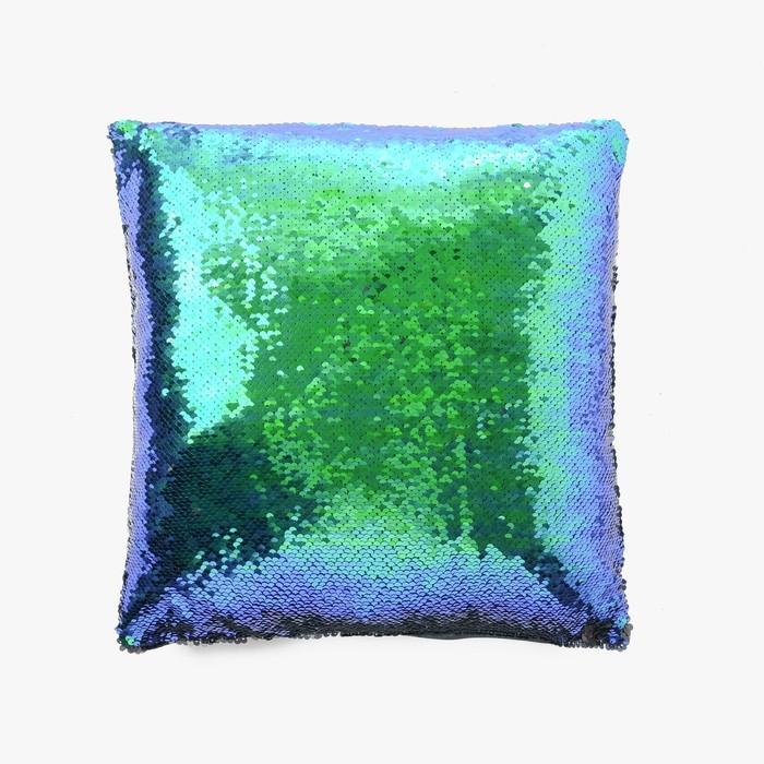 Наволочка декоративная Хамелеон 37×37 см, цвет морской - глянцевый чёрный, пайетки, 100%п/э
