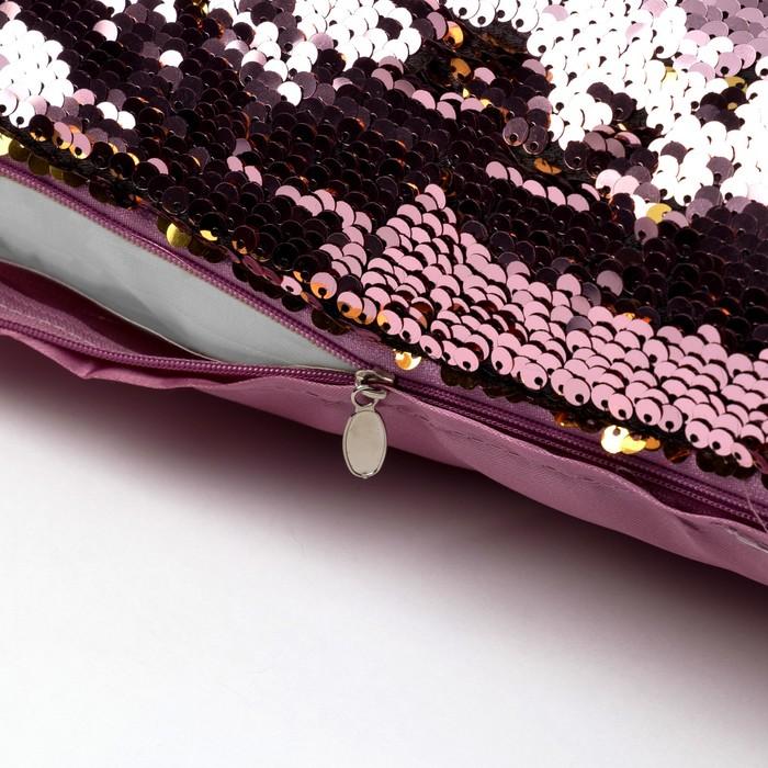 Наволочка декоративная Хамелеон 37×37 см, цвет золото - пудра, пайетки, 100%п/э