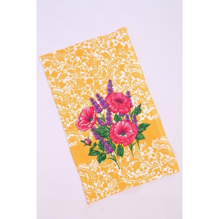 Полотенце вафельное «Цветы», 35х60 см, МИКС