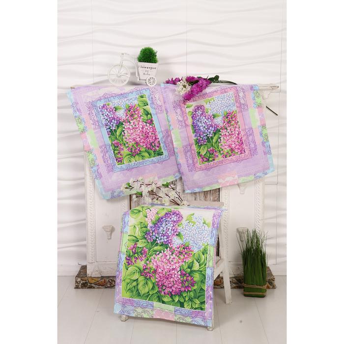Набор вафельных полотенец Сирень 45х60 см - 3 шт (в коробке), 170 гр/м, хл 100%