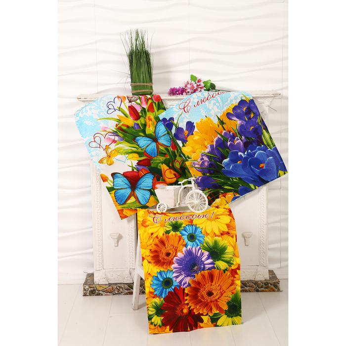 """Набор полотенец DomoVita """"Цветник"""", 45х65 см, 3 шт в коробке"""