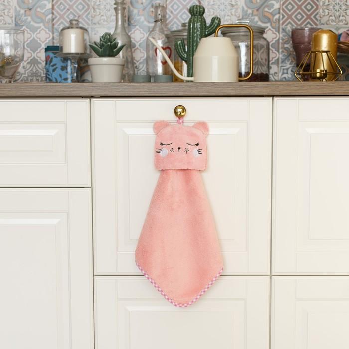 """Кухонное полотенце Доляна """"Кошка"""", р-р. 30х30 см, микрофибра"""