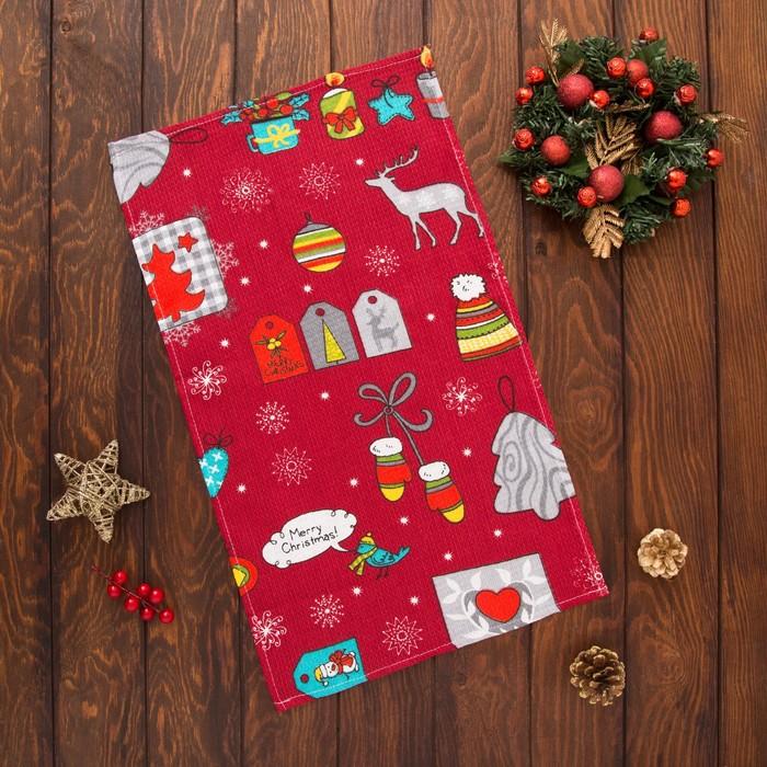 Полотенце вафельное Collorista «Рождество», цвет красный 35×58, 100% хл, 160 г/м²